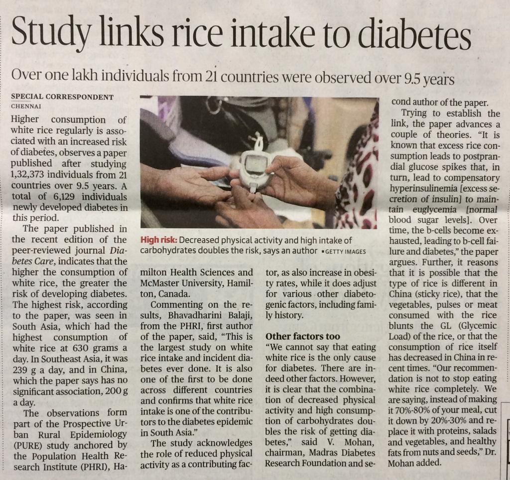 Study links rice intake to diabetes