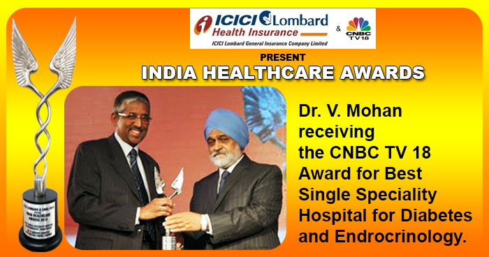 CNBC TV 18 Award for Best Single Speciality hospital for Diabetes and Endrocrinology