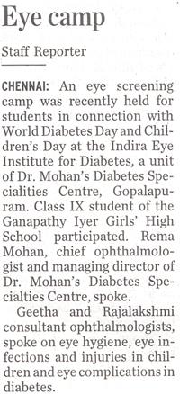 Eye camp ,the Hindu, November 17 2008