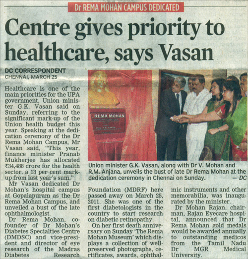 The Deccan Chronicle , Monday, March 26,2012