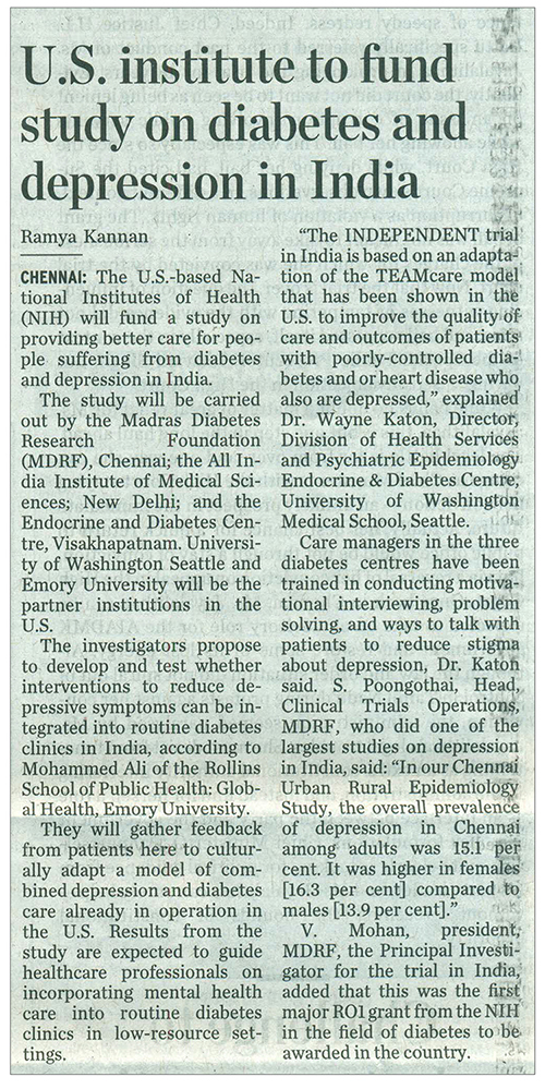 U.S. institute to fund study on diabetes and depression in India